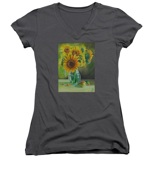 Sunflowers In Glass Jug Women's V-Neck T-Shirt (Junior Cut) by Nina Mitkova
