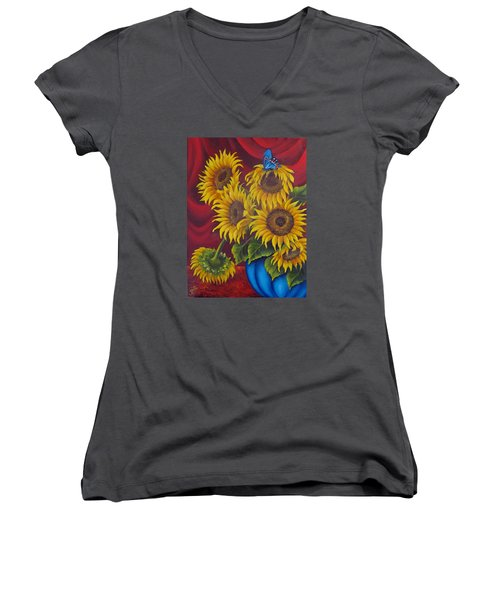 Sunflowers Women's V-Neck T-Shirt (Junior Cut) by Katia Aho