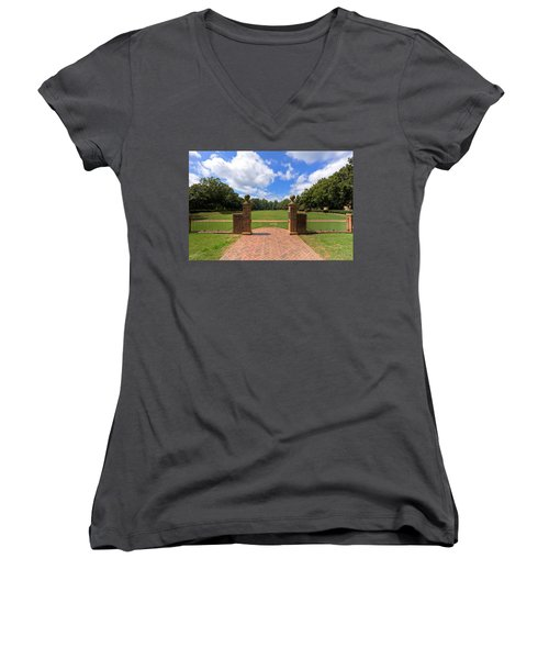 Women's V-Neck T-Shirt (Junior Cut) featuring the photograph Sunken Garden At William And Mary by Jerry Gammon