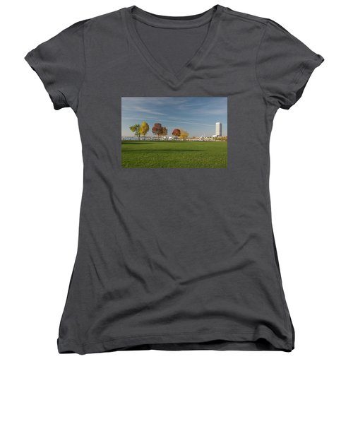 Women's V-Neck T-Shirt (Junior Cut) featuring the photograph Sunny Autumn Day by Jonah  Anderson