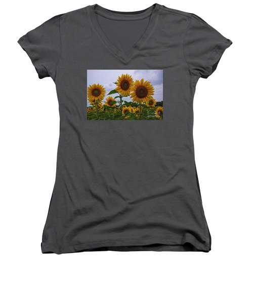 Women's V-Neck T-Shirt (Junior Cut) featuring the photograph Sunny Faces by Debra Fedchin