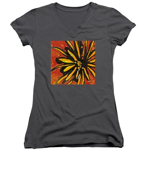 Women's V-Neck T-Shirt (Junior Cut) featuring the painting Sunny Hues Watercolor by Joan Reese