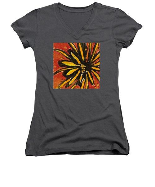 Sunny Hues Watercolor Women's V-Neck T-Shirt (Junior Cut) by Joan Reese
