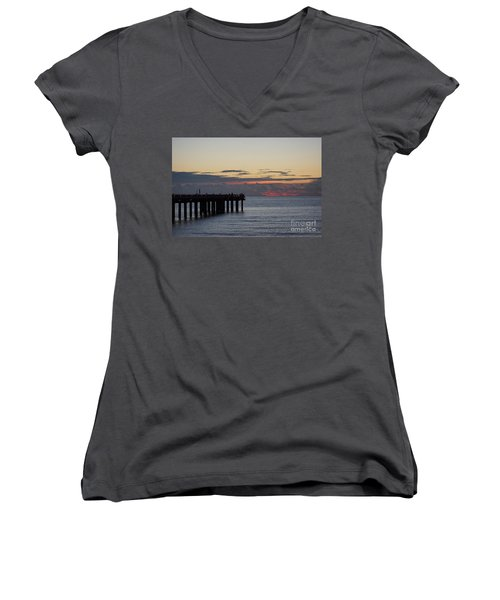 Women's V-Neck T-Shirt (Junior Cut) featuring the photograph Sunny Isles Fishing Pier Sunrise by Rafael Salazar
