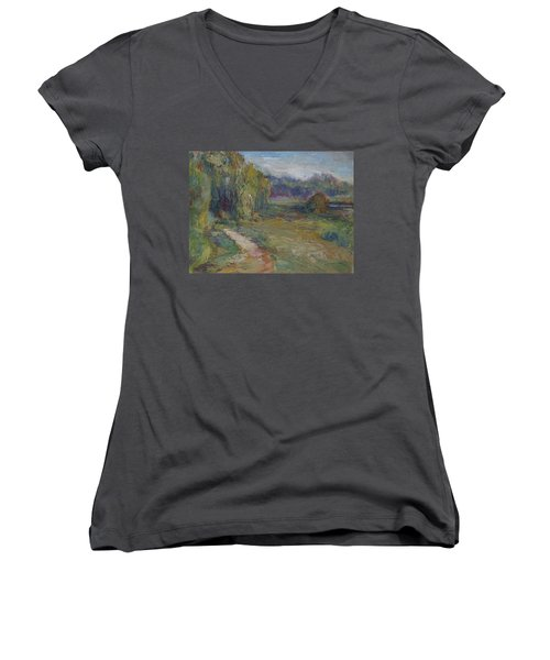 Sunny Morning In The Park -wetlands - Original - Textural Palette Knife Painting Women's V-Neck T-Shirt