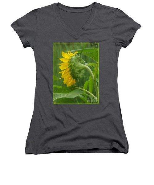 Sunny Profile Women's V-Neck T-Shirt (Junior Cut) by Sara  Raber