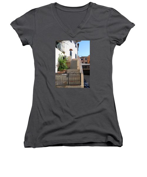 Women's V-Neck T-Shirt (Junior Cut) featuring the photograph Sunny Tuscany Village by Ramona Matei