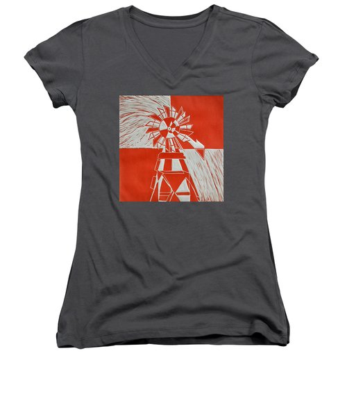 Sunny Windmill Women's V-Neck T-Shirt (Junior Cut) by Verana Stark