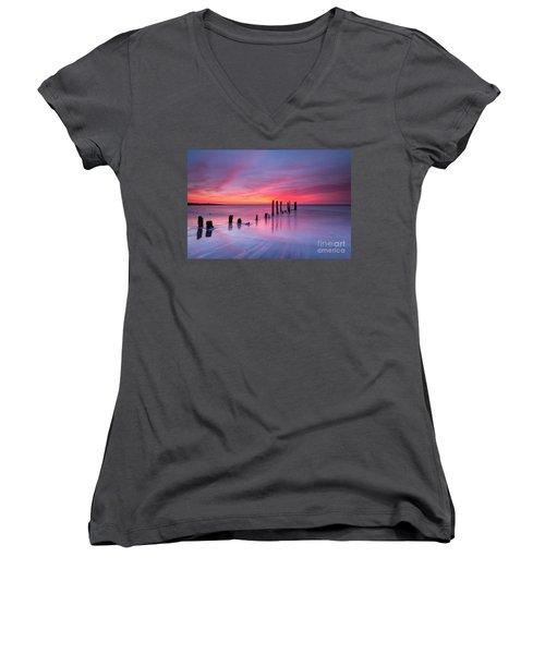 Sunrise At Deal Nj Women's V-Neck T-Shirt (Junior Cut)