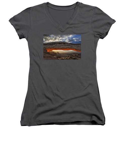 Sunrise At Mesa Arch Women's V-Neck T-Shirt (Junior Cut) by Roman Kurywczak