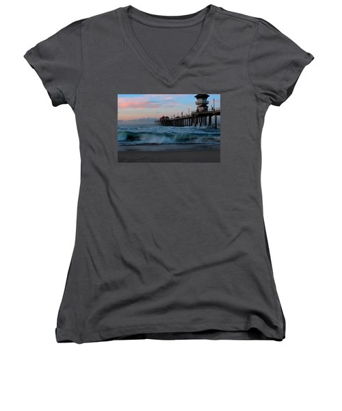 Sunrise At The Pier Women's V-Neck T-Shirt