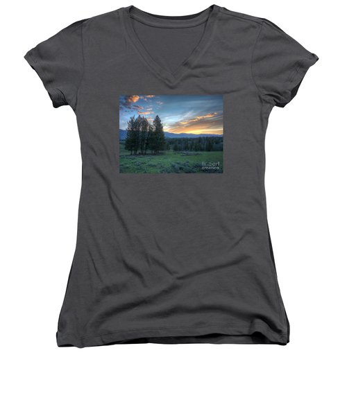 Sunrise Behind Pine Trees In Yellowstone Women's V-Neck