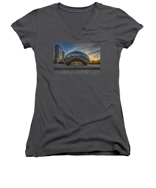 Women's V-Neck T-Shirt featuring the photograph Sunrise Cloud Gate by Sebastian Musial