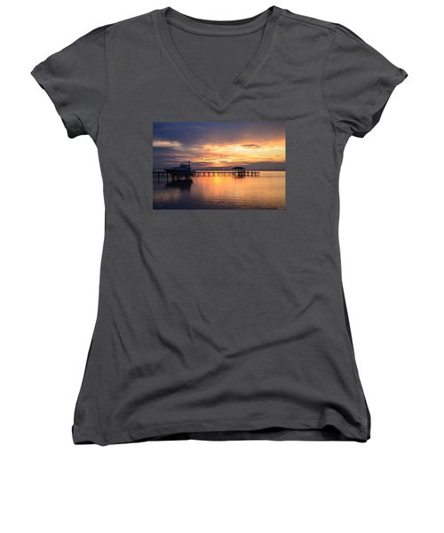 Women's V-Neck T-Shirt (Junior Cut) featuring the photograph Sunrise Colors On The Sound by Jeff at JSJ Photography