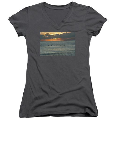 Women's V-Neck T-Shirt (Junior Cut) featuring the photograph Sunrise In Florida Riviera by Rafael Salazar