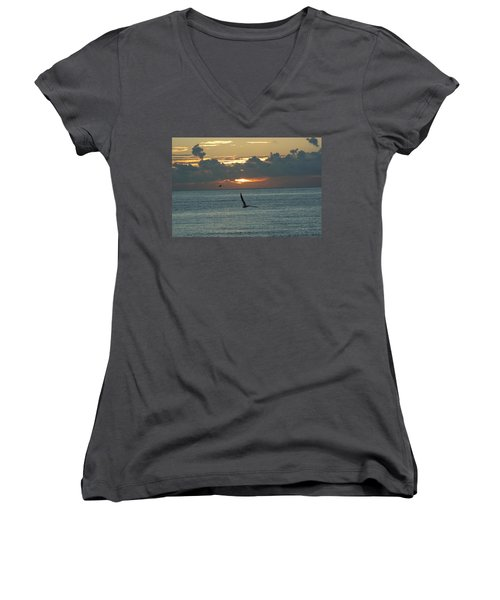 Women's V-Neck T-Shirt (Junior Cut) featuring the photograph Sunrise In The Florida Riviera by Rafael Salazar