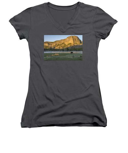 Sunrise Mt. Hayes Yellowstone National Park Women's V-Neck T-Shirt