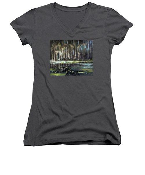 Sunrise On The Bayou Women's V-Neck T-Shirt