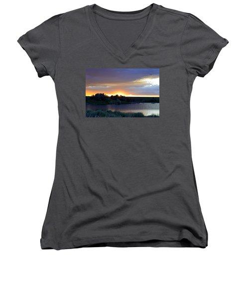 Women's V-Neck T-Shirt (Junior Cut) featuring the photograph Sunrise Over Kinney Lake by Clarice  Lakota