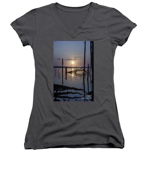 Sunrise Over Manasquan Reservoir Women's V-Neck T-Shirt (Junior Cut)