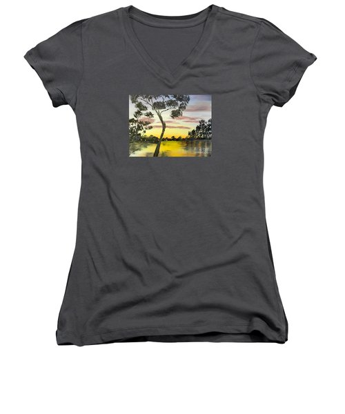 Sunrise Over The Murray River At Lowson South Australia Women's V-Neck (Athletic Fit)
