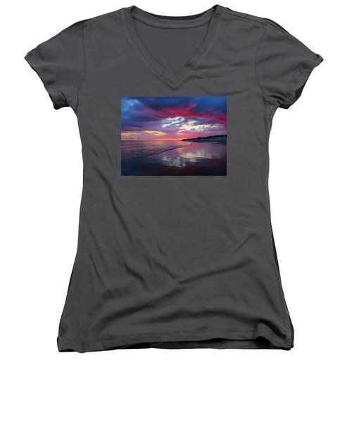 Sunrise Sizzle Women's V-Neck T-Shirt (Junior Cut) by Dianne Cowen