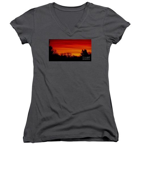 Women's V-Neck T-Shirt (Junior Cut) featuring the photograph Sunrise Y-town by Angela J Wright