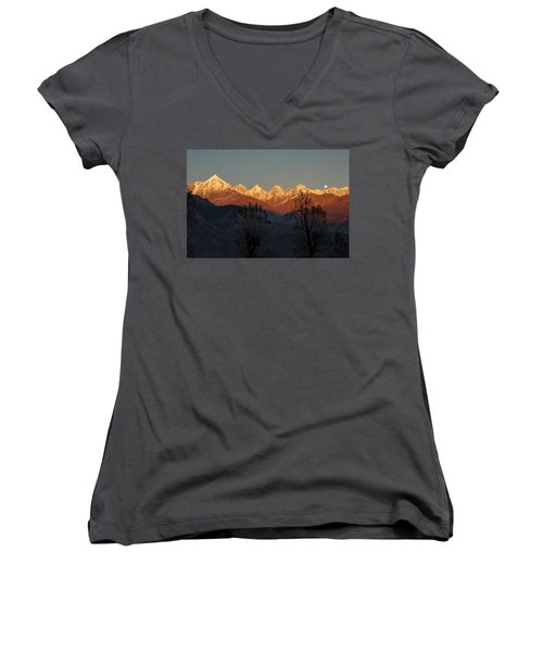 Sunset And Moonrise. The Rendezvous. Women's V-Neck T-Shirt (Junior Cut) by Fotosas Photography