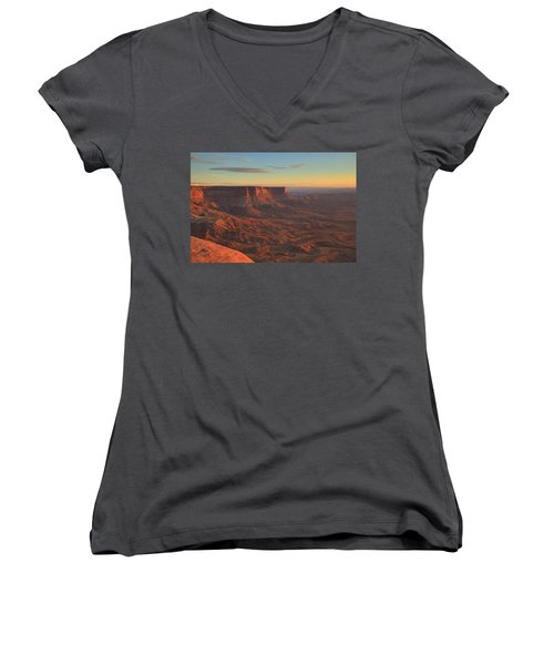 Women's V-Neck T-Shirt (Junior Cut) featuring the photograph Sunset At Canyonlands by Alan Vance Ley