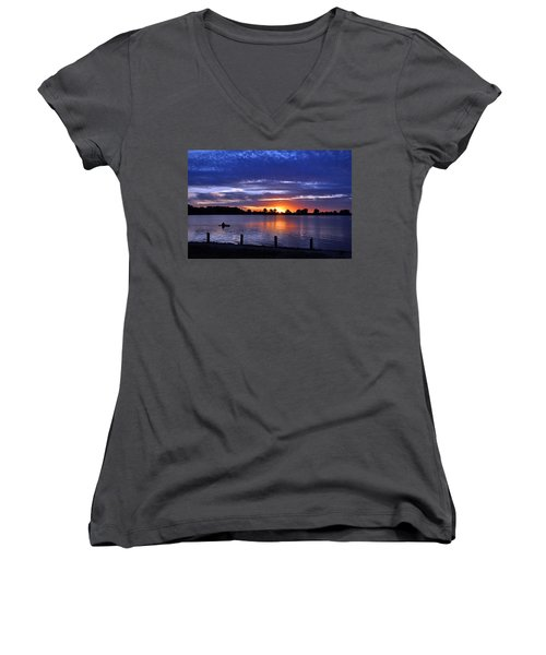 Sunset At Creve Coeur Park Women's V-Neck