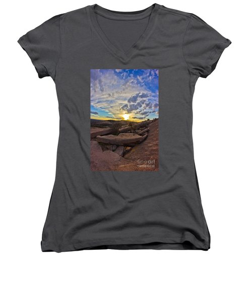 Sunset At Enchanted Rock State Natural Area Women's V-Neck
