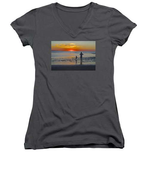 Sunset At Mindil Beach Women's V-Neck T-Shirt (Junior Cut) by Venetia Featherstone-Witty