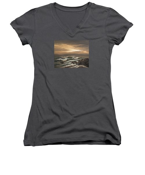 Sunset At Pacific Grove Women's V-Neck