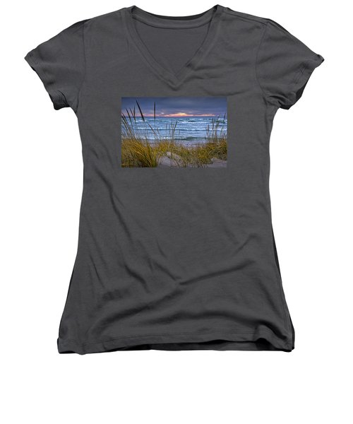 Sunset On The Beach At Lake Michigan With Dune Grass Women's V-Neck T-Shirt