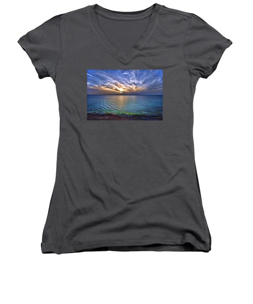 Sunset At The Cliff Beach Women's V-Neck T-Shirt (Junior Cut) by Ron Shoshani