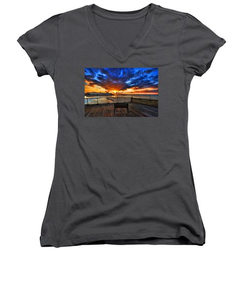 Women's V-Neck T-Shirt featuring the photograph sunset at the port of Tel Aviv by Ron Shoshani