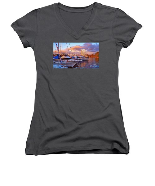 Sunset Before The Show Women's V-Neck T-Shirt (Junior Cut) by Gem S Visionary