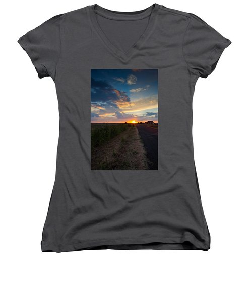 Sunset Down A Country Road Women's V-Neck T-Shirt (Junior Cut) by Mark Alder