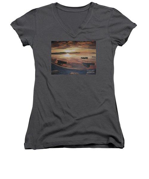 Sunset Evening Tide Women's V-Neck