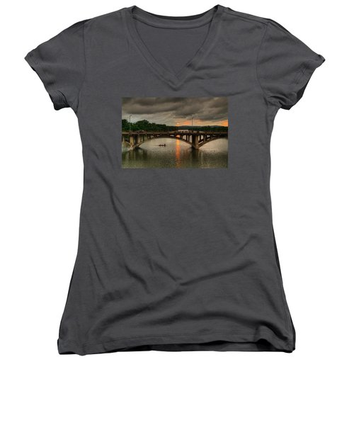 Sunset Fighting Through Women's V-Neck (Athletic Fit)