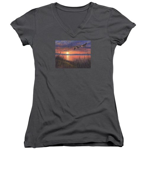 Women's V-Neck T-Shirt (Junior Cut) featuring the painting Sunset Flight by Kim Lockman