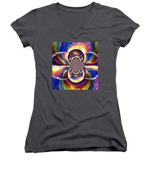 Sunset Fractal Women's V-Neck T-Shirt