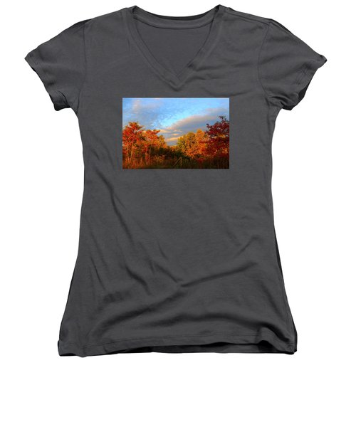 Women's V-Neck T-Shirt (Junior Cut) featuring the photograph Sunset Glow by Kathryn Meyer