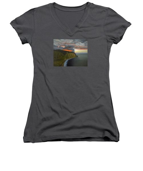 Sunset In Paradise Women's V-Neck T-Shirt (Junior Cut) by Thu Nguyen