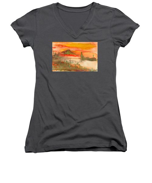 Sunset In Saguaro Desert  Women's V-Neck (Athletic Fit)