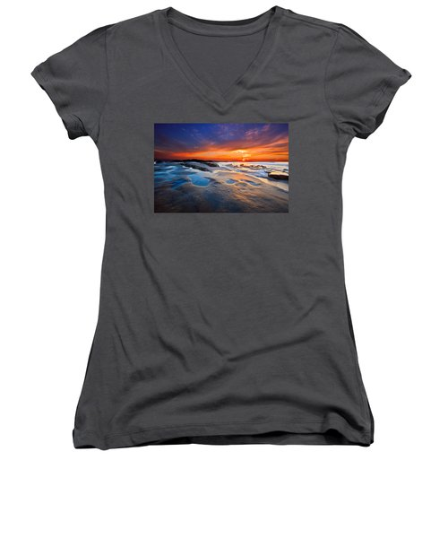 Sunset In San Diego Women's V-Neck
