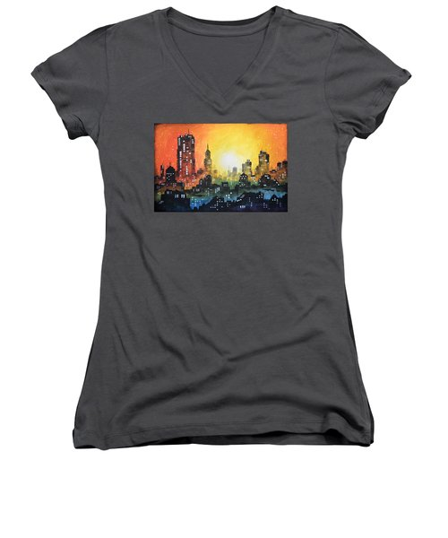 Sunset In The City Women's V-Neck T-Shirt (Junior Cut) by Amy Giacomelli
