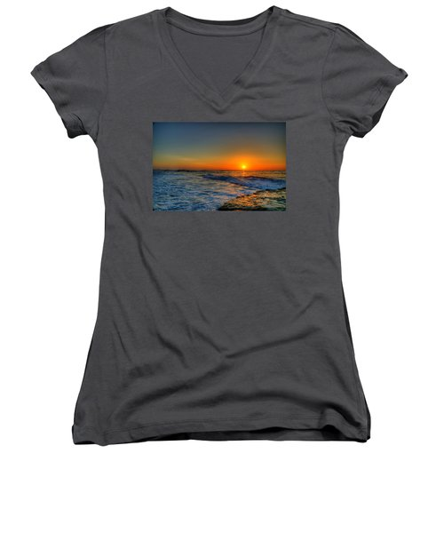 Sunset In The Cove Women's V-Neck T-Shirt (Junior Cut) by Dave Files