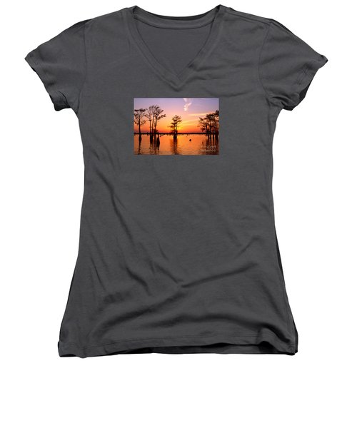Sunset Lake In Louisiana Women's V-Neck (Athletic Fit)
