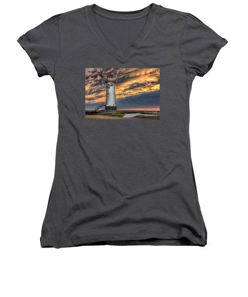 Sunset Lighthouse Women's V-Neck (Athletic Fit)